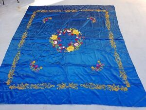 Vintage Chinese Embroidered Blue Silk Wall Hanging Table Cloth