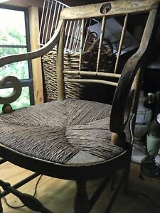 Country Farmhouse 1800s Lion Carved 5 Chairs