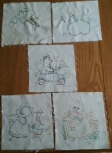 5 Adorable 1920s Hand Embroidered Quilt Blocks Baby Animals Sunbonnet Sue