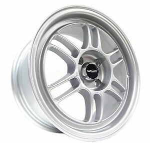 Silver Vms Racing Onyx Rims Wheels 15x7 4x100 Et35 Offset 99 00 Honda Civic Si