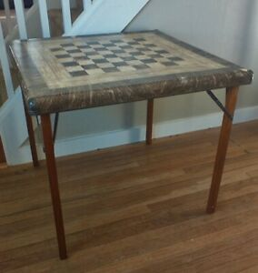 Vintage Card Table Samson Shwayder Brothers Chess Checker Board Game