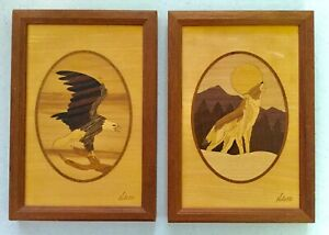 Pair Eagle And Woolf Marquetry Inlaid Wood Framed Pictures By Hudson River Inlay