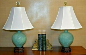 Pair Of 27 High End Chinese Porcelain Vase Lamps Carved Jade Green Celadon