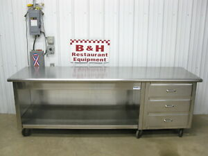 8 Stainless Steel Heavy Duty Kitchen Cabinet Work Prep Table W 3 Drawers 96