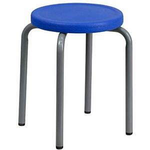 Stackable Stool With Blue Seat And Silver Powder Coated Frame Kitchen Dining