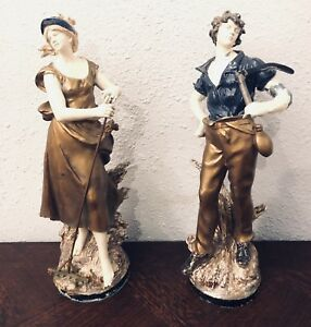 2 French Auguste Moreau Man Woman Spelter Casted Painted Art Statues Sculptures