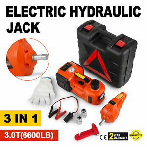 3 In 1 12v Dc 3t Electric Hydraulic Floor Jack Lift 6600 Lbs Power Tool Truck