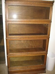 Antique Tiger Oak 4 Stack Barrister Book Shelf Ex Condition Top Botton Frame