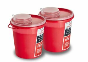 Adirmed Round Sharps Container Biohazard Needle Disposal 1 5 Quart 2 Piece