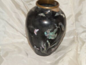 Vintage Korean Brass Black Lacquer Vase With Mother Of Pearl Inlay