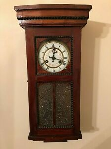 Late 19th Century Antique German Working Wall Mounted Wooden Clock