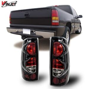 99 06 For Silverado Sierra Gloss Black Clear Altezza Tail Lights Set Replacement
