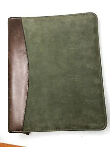 Franklin Covey Green Brown Leather Day Timer Planner Binder 7 Ring 8 5x11