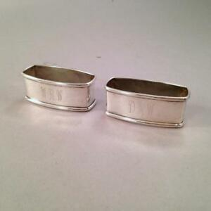 Pair Webster Sterling Napkin Rings Wrw Dmw