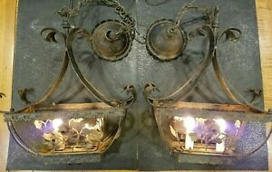 Pair Vtg Italy Halcolite Gothic Arts Wrought Iron Tole Floral Chandelier Light