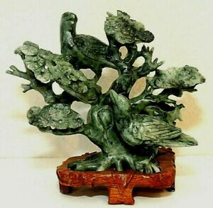 Vintage Chinese Carved Jade Figurine Statue Birds In A Tree