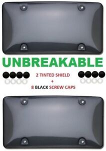 2x Tinted Smoke License Plate Tag Frame Cover Shield Protector Car Truck