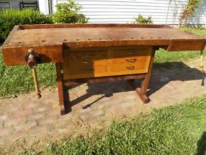 Antique 1800 S Woodworkers Wood Bench 2 Vises Kitchen Island Work Table Desk
