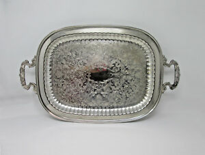 Leonard Silver Co Silverplate Footed Butlers Tray Platter 22 Victorian Vintage