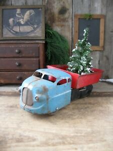 Antique Tin Toy Blue And Red Dump Truck With Christmas Tree