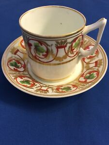 Antique Derby Coffee Can Cup Saucer C1800 1825