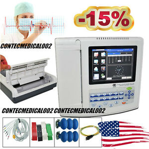 Touch 12 Channel Ecg Machine Ekg Electrocardiograph Interpretation Usb Software