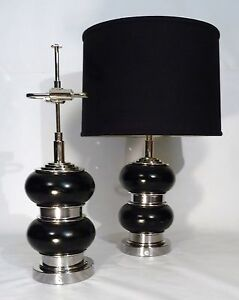 Pair Of Art Deco Bauhaus Leather Nickel Bulbous Form Table Lamps Lights