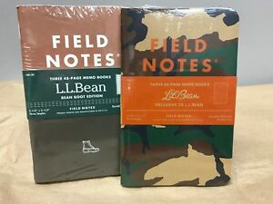 Field Notes X Ll Bean Boot Camo Edition Sealed Set 3 pack Memo Notebooks Pads