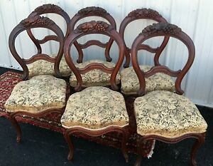 Six Antique Set Of Baloon Parlor Dining Chairs Hand Carved