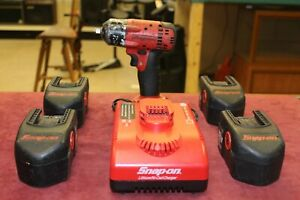Snap On 3 8 Impact Wrench W 4 18v Batteries Charger Free Shipping