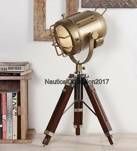 Nautical Vintage Style Table Top Decorative Table Lamp With Wooden Tripod Stand
