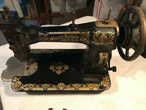 1911 Patent White Rotary Treadle Sewing Machine Head Parts Or Restoration