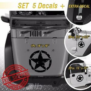 Kit 5 Decals Jeep Army Star Distressed Military Hood Vinyl Decals Stickers 1