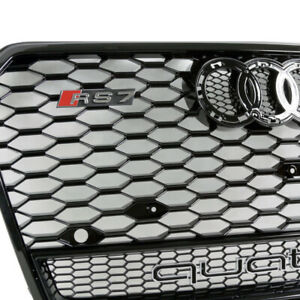 16 17 18 Audi A7 s7 Front Hex Mesh Grille Rs7 Quattro Style High Gloss Black