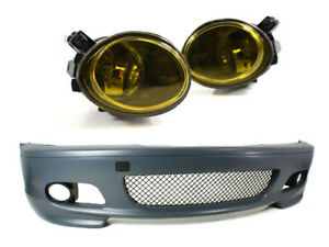 M tech Ii Style Bumper W Yellow Foglights For 2000 2006 Bmw E46 3 series 2dr