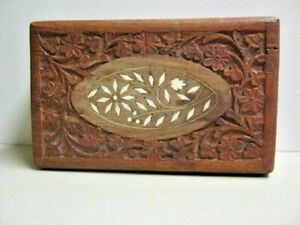 Vintage India Primitive Hand Carved Wood Box With Shell Inlay Design