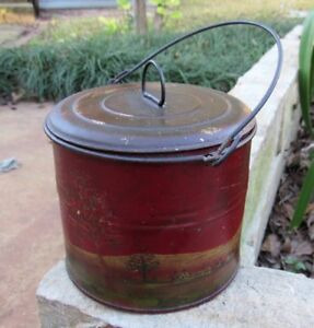 Early Primitive Hand Painted Tin Berry Pail Bucket Rabbits Trees Sale