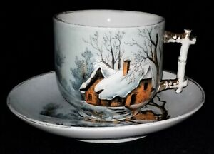 Mustache Cup Saucer Porcelain Germany Vict Stick Style Cottage Snow Scene