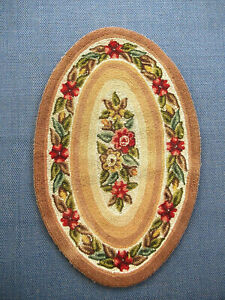 Vintage Hooked Rug Oval Floral Brown Beige Green Rose 32 X 21