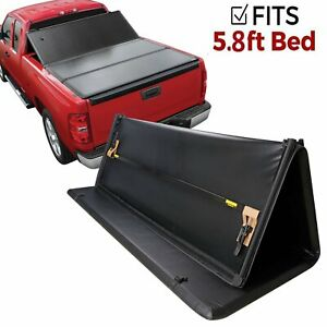5 8ft Tonneau Cover Tri fold For 14 18 Chevy Silverado 1500 Lt Short Bed Pickup