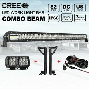 52inch Led Light Bar Tri Row Spot Flood Combo 4 Pods Offroad Jeep Roof Ford 50