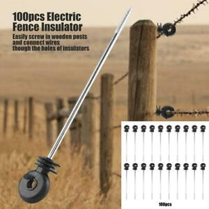 100pcs Plastic Ring Insulators Electric Fence Screw In Insulator For Wooden Post