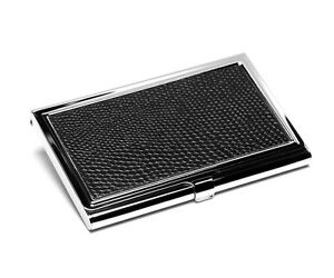 Business Card Case Chrome Silver With Engraving Faux Lether Credit New