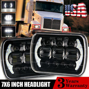 Pair 7x6 Led Headlights For International Ihc Headlight Assembly 9200 9900 9400i