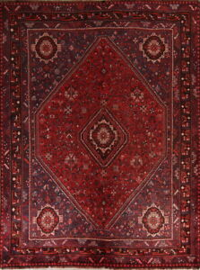 Pre1900 Antique Collectable Nomadic Tribal 7x9 Wool Qashqai Oriental Rug