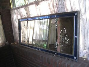 Antique Large Mirror Clear Etched Blue Glass Wall Mirror 59 X 25 Art Deco