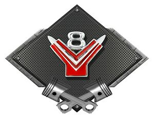 1950s Ford Y Block V8 Emblem Black Diamond Metal Sign 25 X 19