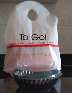 500 Biodegradable Take Out Plastic T shirt Bags For Restaurant Carry out Food