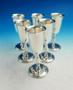 Set Of 6 Sterling Silver Cordials With Stem 6099