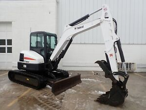 2015 Bobcat E50 Excavator Cab heat ac 302 Hrs Long Arm hyd Thumb Angle Blade
